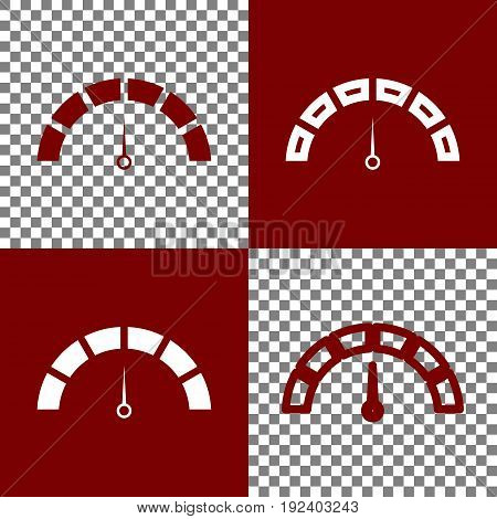 Speedometer sign illustration. Vector. Bordo and white icons and line icons on chess board with transparent background.