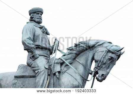 Giuseppe Garibaldi the Hero of Two Worlds equestrian statue on withe background