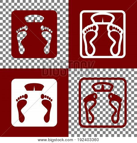 Bathroom scale sign. Vector. Bordo and white icons and line icons on chess board with transparent background.