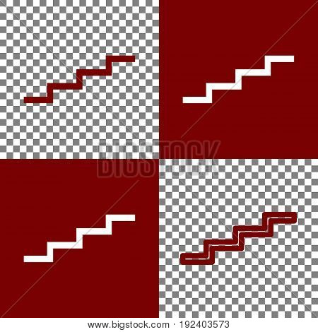 Stair up sign. Vector. Bordo and white icons and line icons on chess board with transparent background.