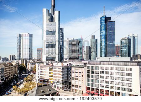 Beautiful skyline with skyscrapers at the financial district in Frankfurt city, Germany
