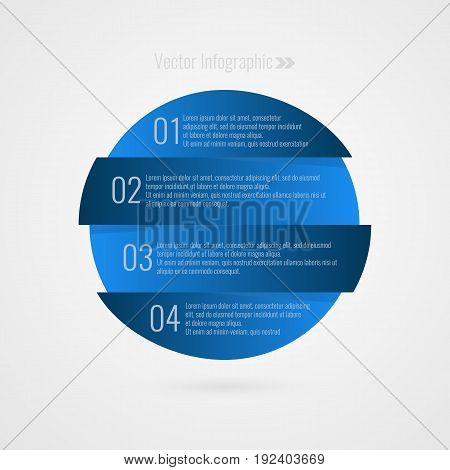 One two three four step vector element infographics. 1 2 3 4 progress blue symbol. Isolated Circle icon illustration for marketing business project web design template sample text data report