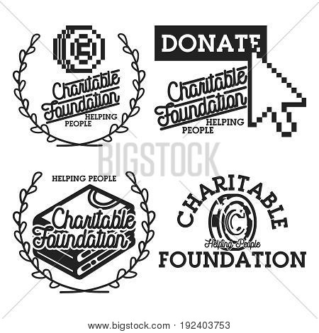 Vintage charitable foundation emblems, labels, badges and design elements. Vector illustration, EPS 10