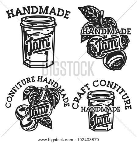 Vintage confiture emblems. For kids menu, winter holidays, birthday