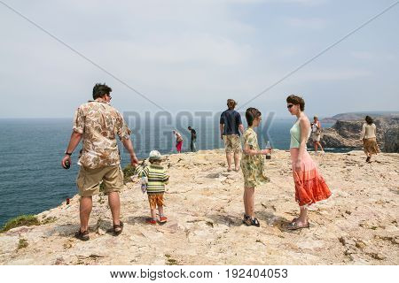 Tourists On Cape St. Vincent Near Sagres Town