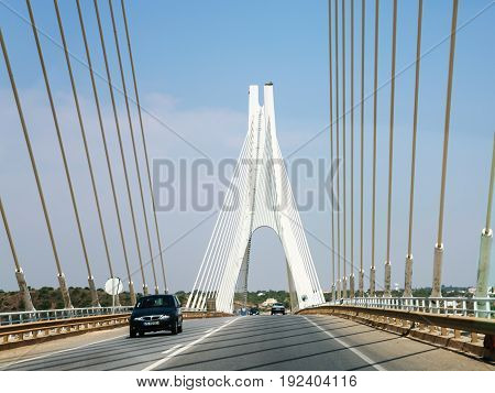 Cars On Cable-stayed Bridge Over Arade River