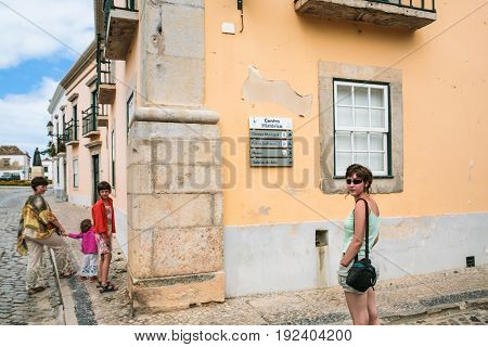 Tourists In Historical Center Of Faro City