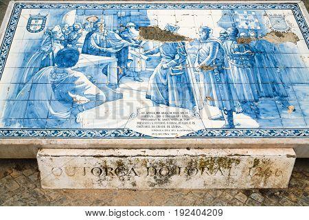 Azulejo Tile Plate With Historic Snene In Faro