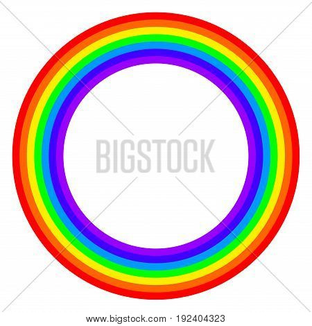 Rainbow circle spectrum colored. Ring with rainbow bands in seven colors of the spectrum and visible light red, orange, yellow, green, blue, indigo and violet. Illustration on white background. Vector