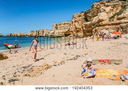 People On Beach Praia Maria Luisa Near Albufeira