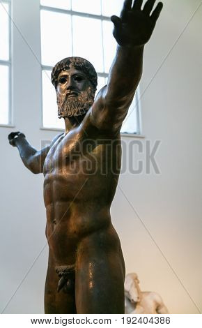 The Bronze Statue Of Zeus Or Poseidon In Museum