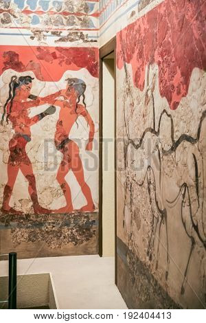 The Boxing Boys Fresco From Thera In Museum