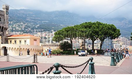 Tourists On Waterfront In Monaco City