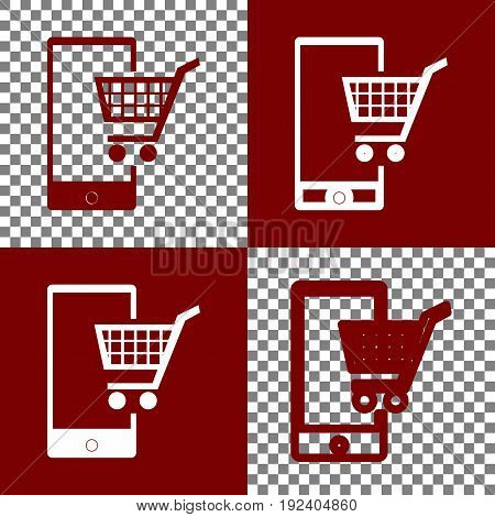 Shopping on smart phone sign. Vector. Bordo and white icons and line icons on chess board with transparent background.