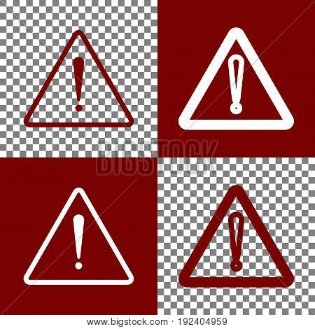 Exclamation danger sign. Flat style. Vector. Bordo and white icons and line icons on chess board with transparent background.