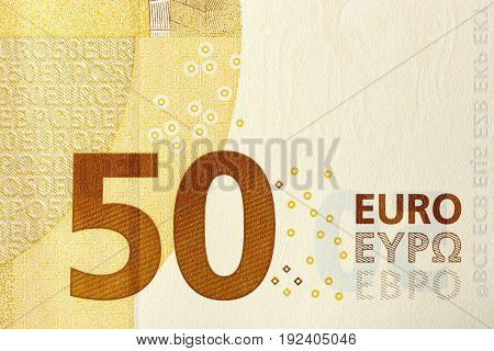 close up of fifty-euro banknote for backgrounds