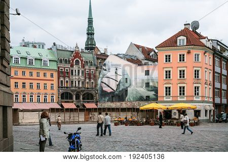 People On Doma Laukums Square In Old Riga Town