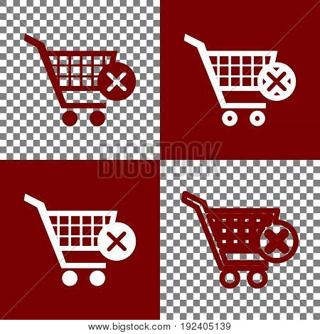 Shopping Cart with delete sign. Vector. Bordo and white icons and line icons on chess board with transparent background.