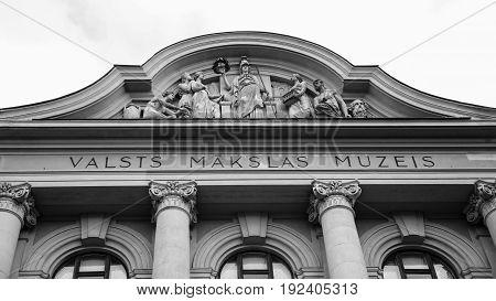 Facade Of Latvian National Museum Of Art In Riga