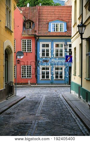 Traditional Painted Houses In Old Riga Town