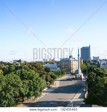 Above View Of Freedom Monument Plaza In Riga City