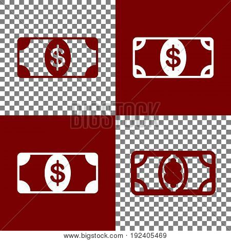 Bank Note dollar sign. Vector. Bordo and white icons and line icons on chess board with transparent background.