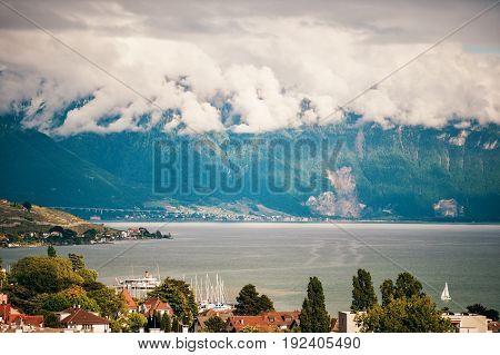 Swiss Lake geneva on a cloudy day