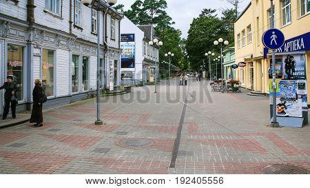 People On Street Jomas Iela In Jurmala