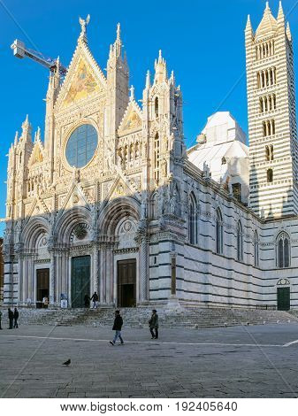 People Near Siena Cathedral In Winter