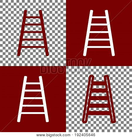 Ladder sign illustration. Vector. Bordo and white icons and line icons on chess board with transparent background.