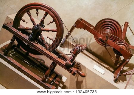 Old Wooden Spinning Wheels In Palazzo Davanzati