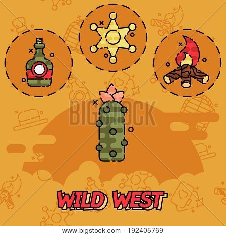 Wild west flat concept icons. Vector illustration, EPS 10