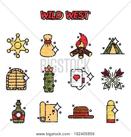 Wild west cartoon concept icons. Vector illustration, EPS 10
