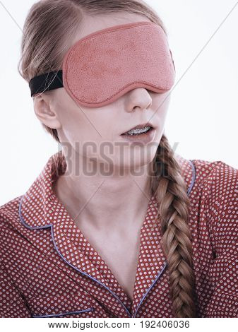 Sleepy Woman Wearing Pink Eye Band