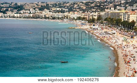 Above View Of Urban Beach In Nice City