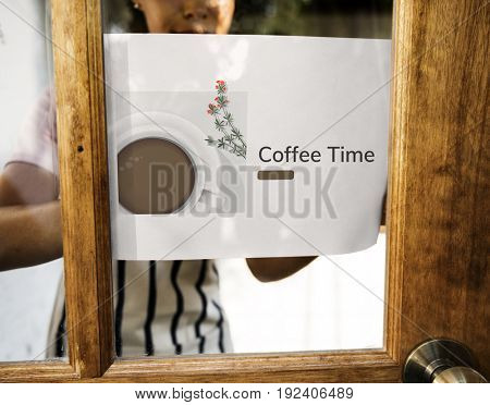 Illustration of coffee cup decoration cafe commercial on banner