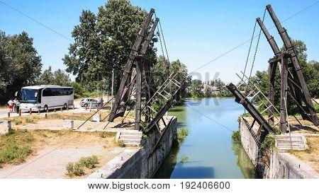 Visitors Near Pont Van Gogh In Arles