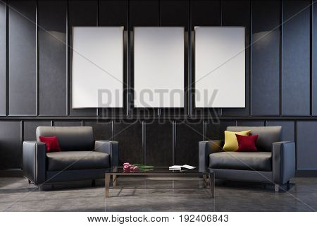 Gray living room interior with a poster gallery on the wall. There are two gray armchairs with cushions on them and a coffee table with a flower bouquet. 3d rendering mock up