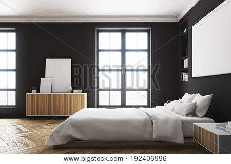 Side view of a modern luxury bedroom with black walls a large bed in the center of the room two bookcases by its sides a large window and a framed horizontal poster. 3d rendering mock up