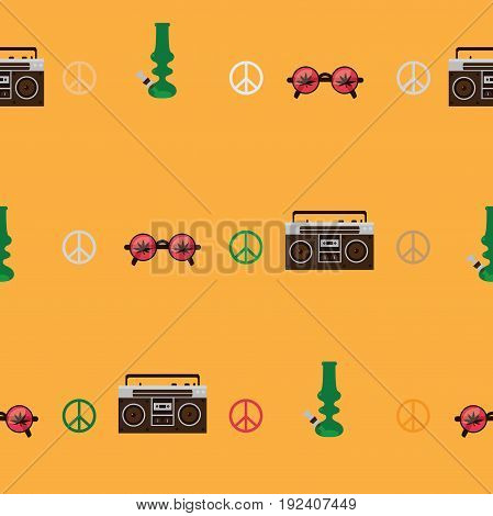 Rastafarian seamless pattern with old fashioned record player round shaped glasses with marijuana leaf image green bong on yellow background. Vector illustration.