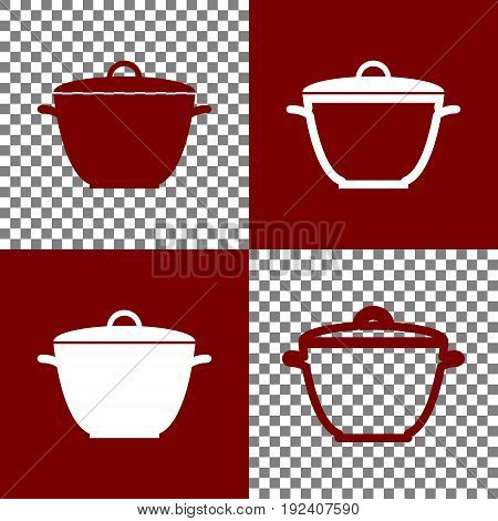 Saucepan simple sign. Vector. Bordo and white icons and line icons on chess board with transparent background.