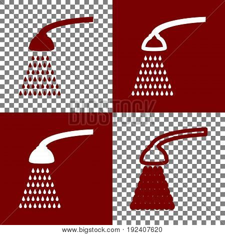 Shower simple sign. Vector. Bordo and white icons and line icons on chess board with transparent background.