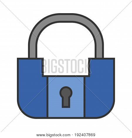 Padlock. Flat colored icon of lock isolated on white background. Object of safety and protection.
