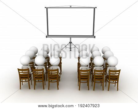 3D illustration of a group of small people looking at projector screen. Isolated on white.