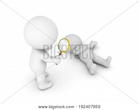 3D illustration of a crime being investigated. Isolated on white.