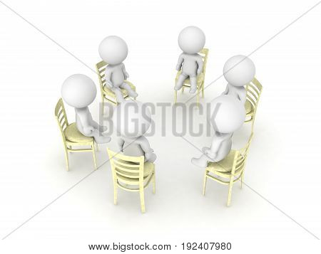 3D illustration of twelve step self help group. Isolated on white.