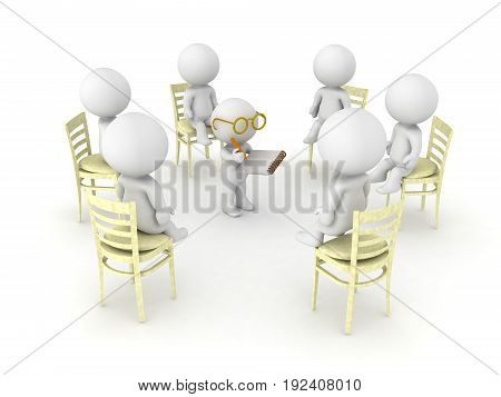 3D illustration of therapist helping patients of twelve step help program. Isolated on white.