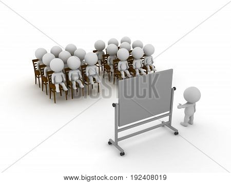 3D illustration of a group of people being at a class or course. Isolated on white.