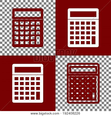 Calculator simple sign. Vector. Bordo and white icons and line icons on chess board with transparent background.