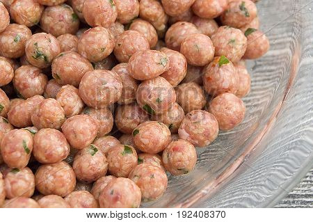 Special rounded pieces of meat for making Turkish style juicy meatballs